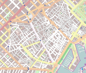 Map of the old part of the city of Barcelona showing curved streets all over the place.