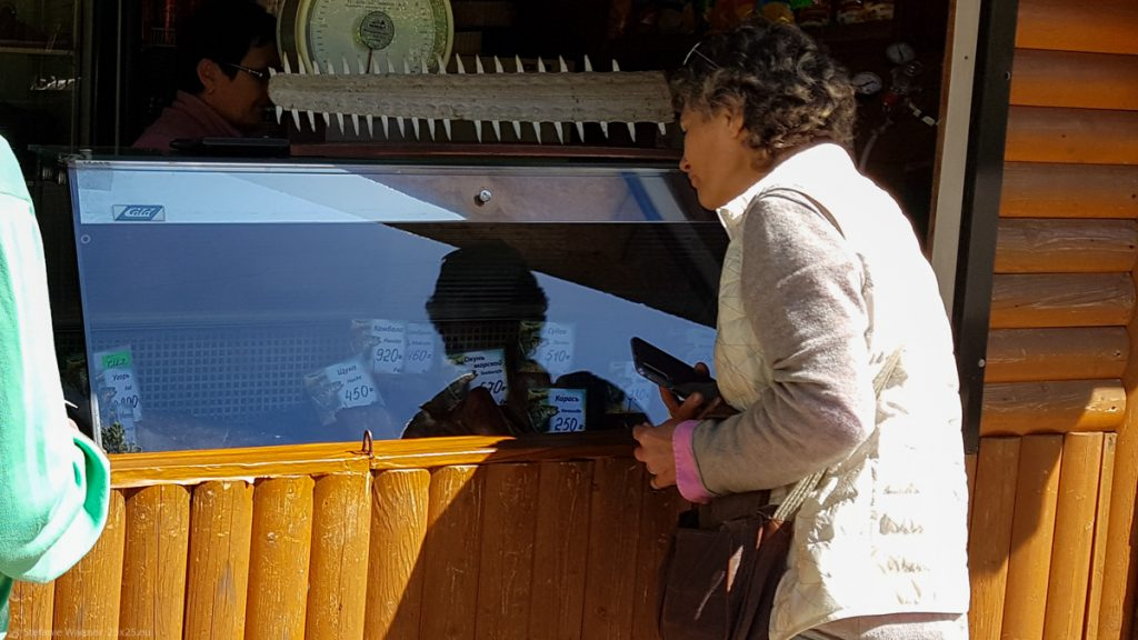 Tour guide looking through the different options for fish