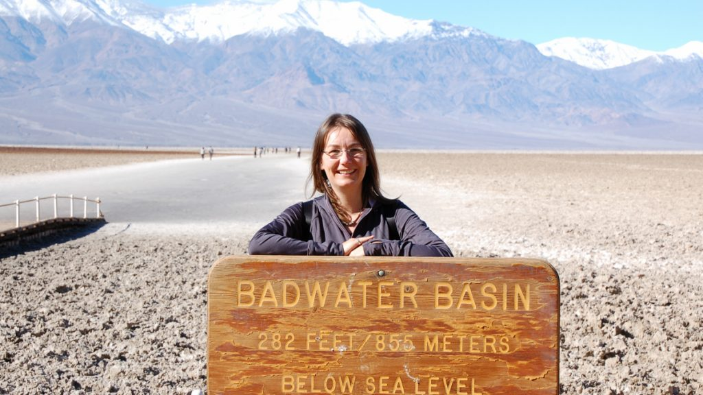 Me with a sign of Badwater (USA)