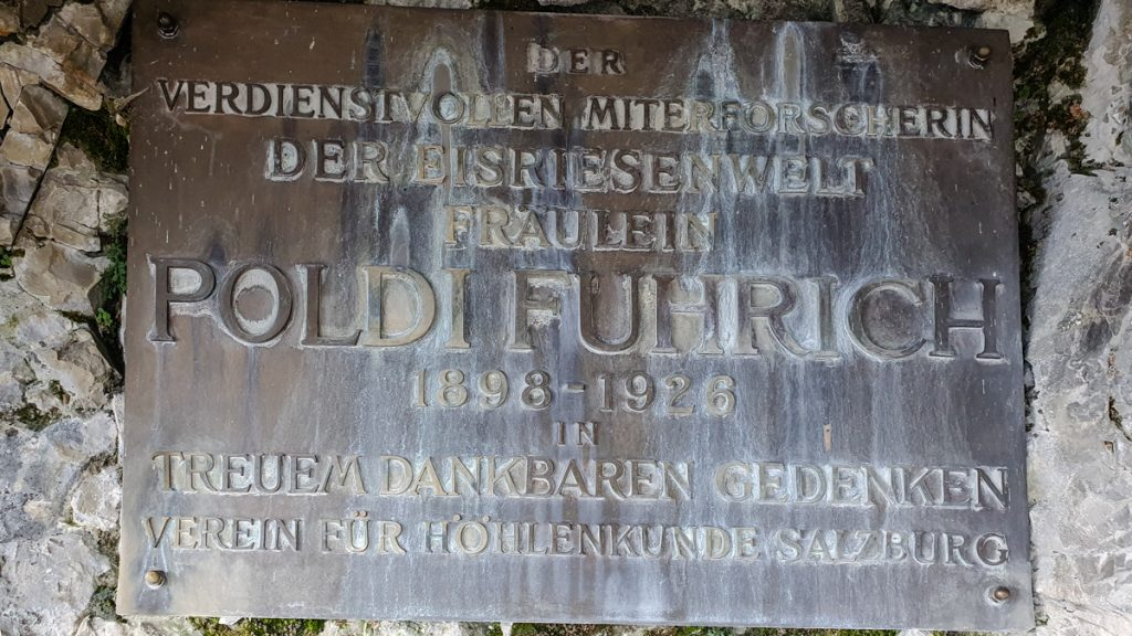 The plaque of Poldi Fuhrich to remember her as one of the explorers of the cave