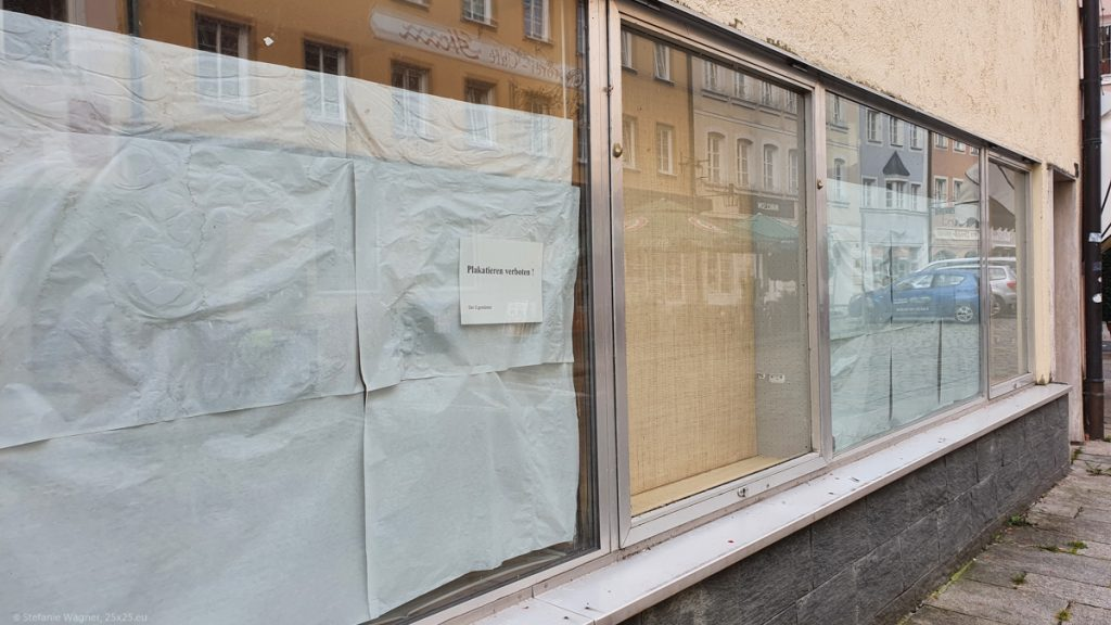 Closed shop, windows are covered