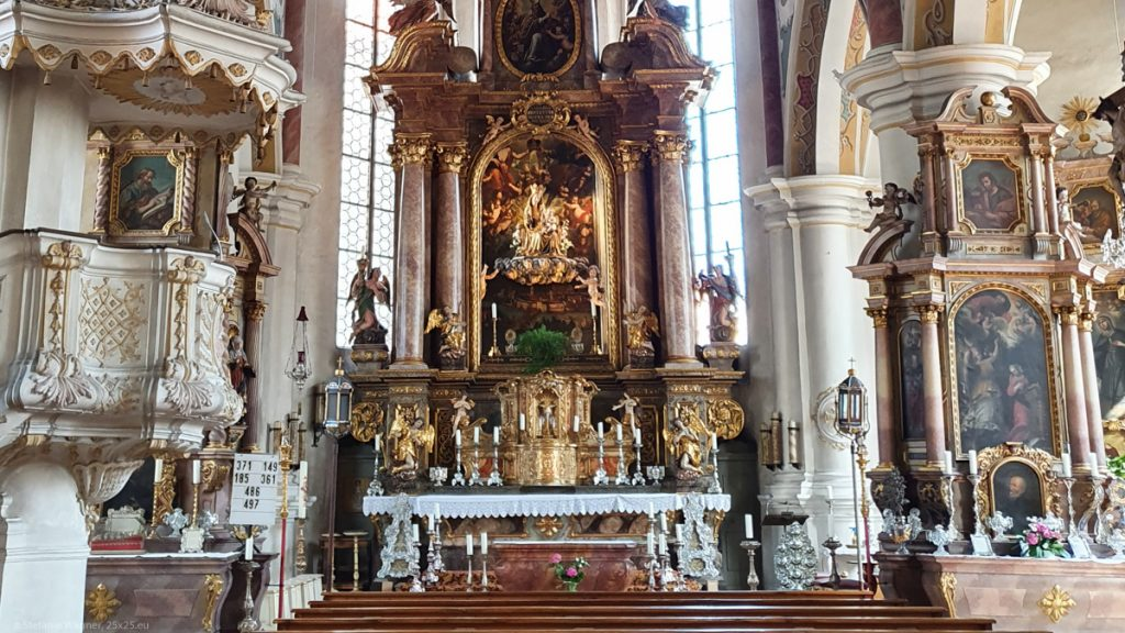 Interiror of the church with altars