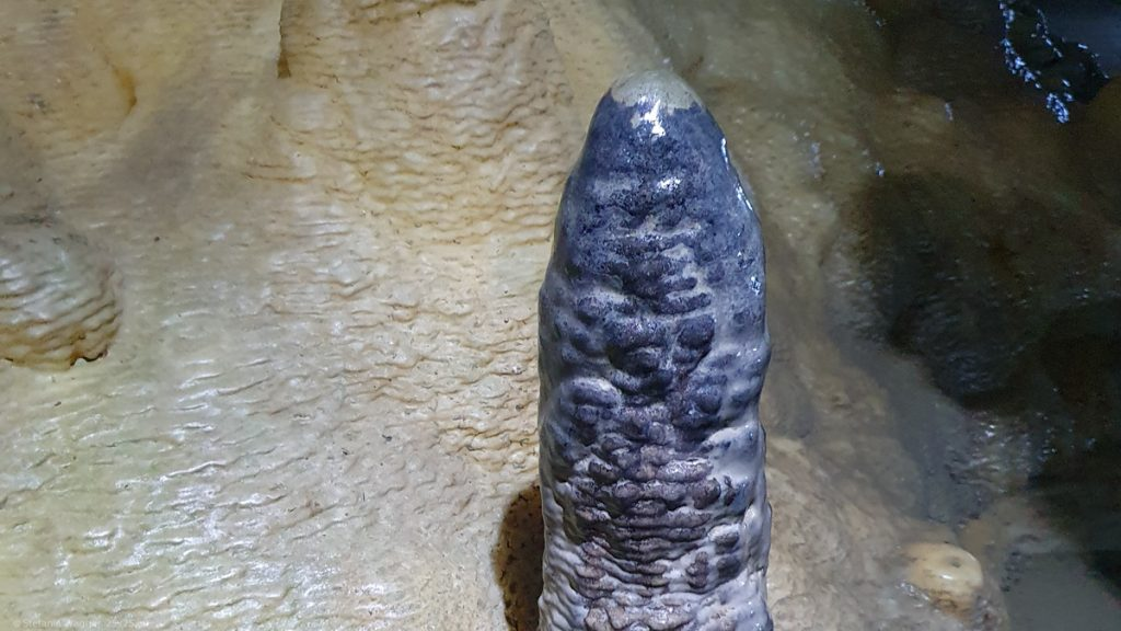 Gray stalagmite in front of white l