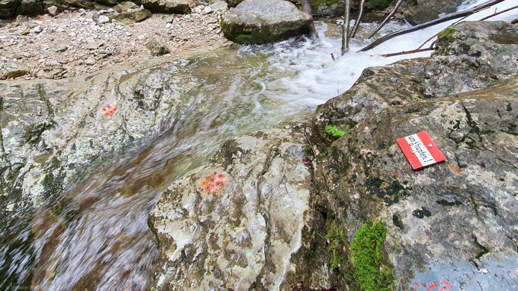 """Very small stream, a red dot on each side of the water, a red and white sign with the text """"umihupfen"""" (jump across)."""