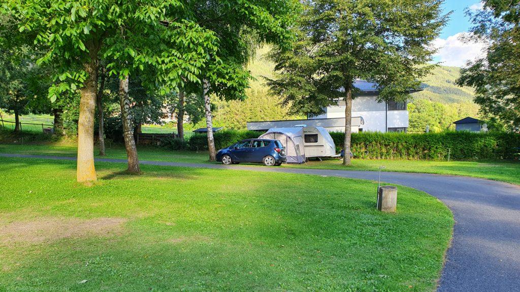 Lonley trailer on a camp ground