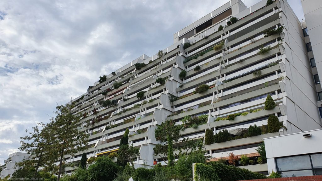 Multistory building with balconies