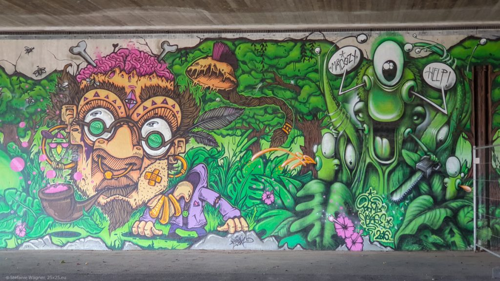 Grafitti: Man with giant head, big eyes, glasses and a pipe on the left, some kind of green animal on the right. In a forest like environment.