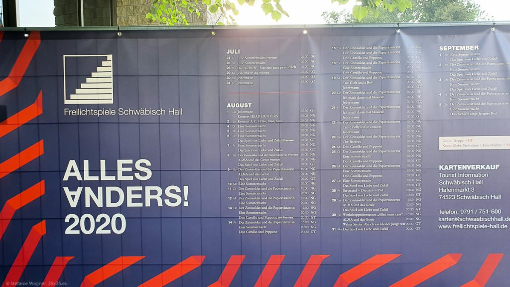 """Poster that lists all the activities from July to September, with the motto in large letters """"Alles Anders"""", the second A is upside down"""