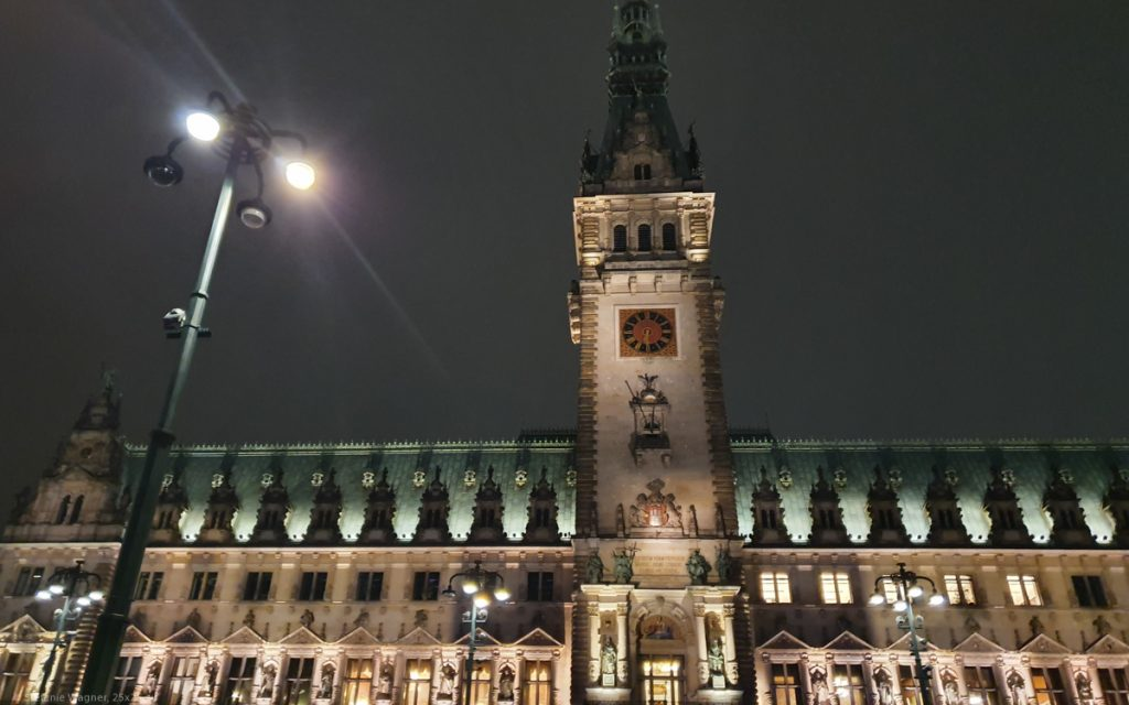 Tower of the city hall at night
