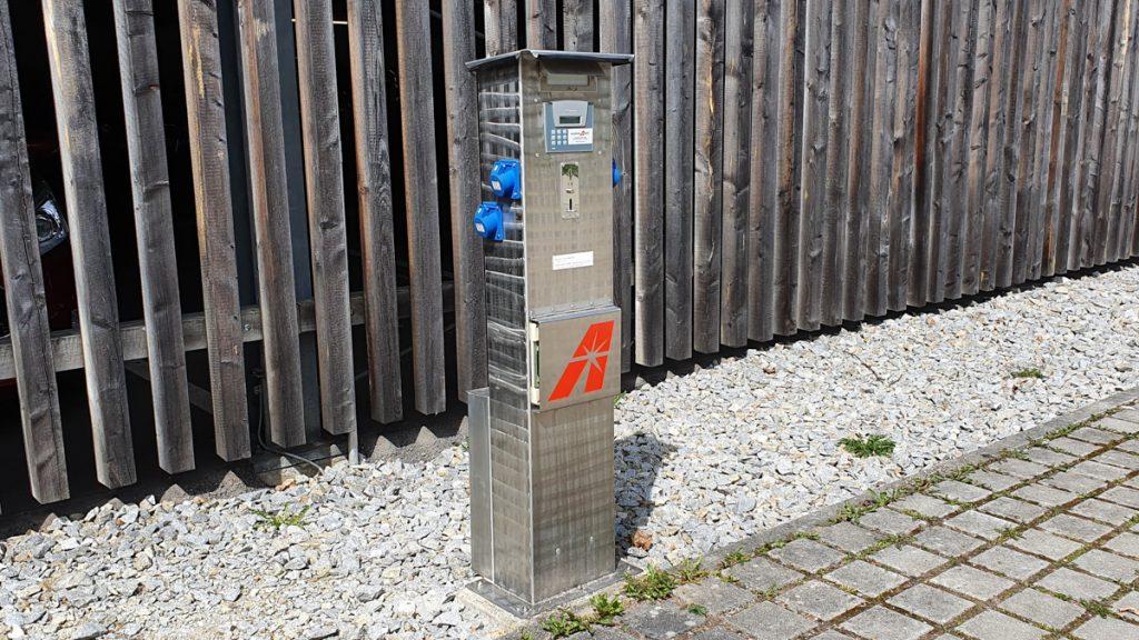 Camper site Ilzbruecke in Passau, electricity pillar